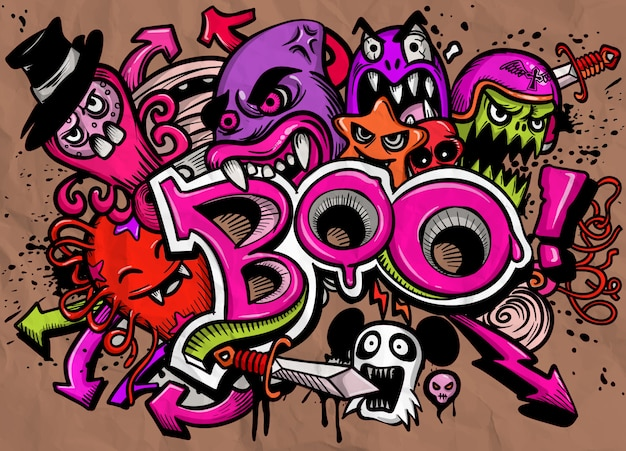 Happy halloween greeting card vector illustration, boo! with monsters.