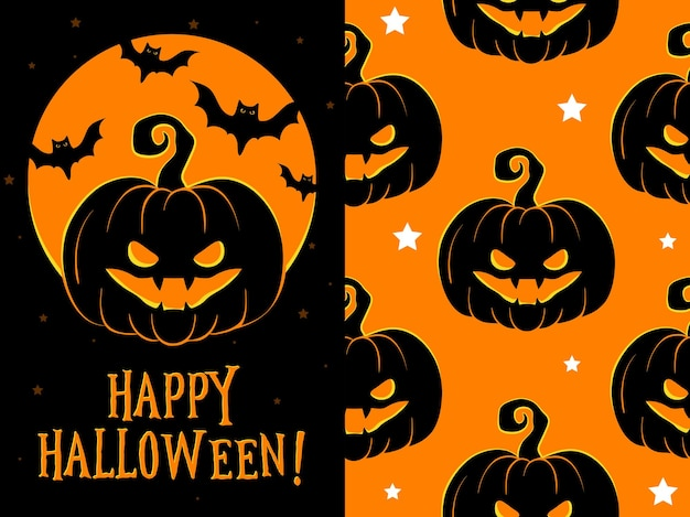 Счастливая поздравительная открытка хэллоуина, векторная иллюстрация с тыквой.
