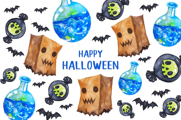 Happy halloween greeting card in watercolor style