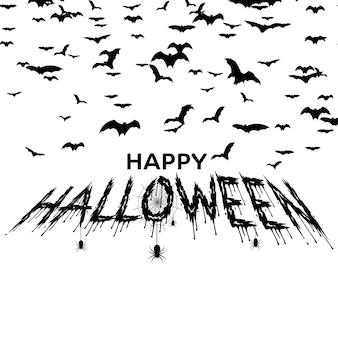 Happy halloween greeting card wirh handdrawn spiders, bats. vector