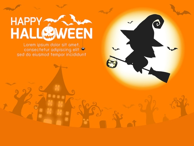 Happy halloween greeting card. witch silhouette on the moon