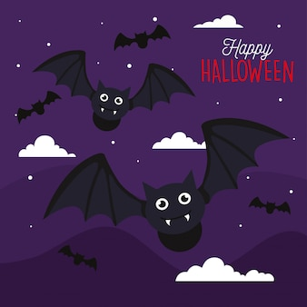 Happy halloween greeting card with bats flying