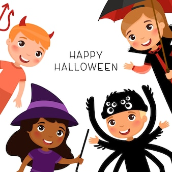 Happy halloween greeting card with children in spooky monsters costumes. vampire, demon, witch and spider cartoon characters.