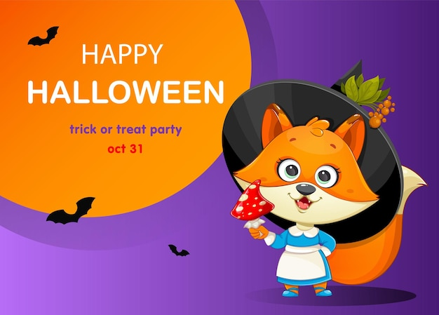 Happy halloween greeting card with cute foxy witch funny witch fox with fly agaric