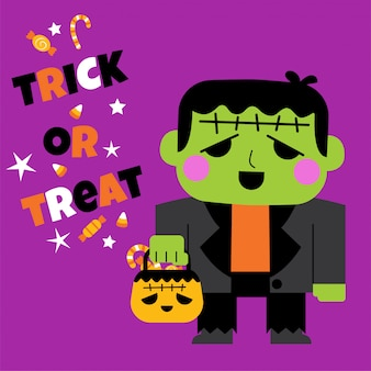 Happy halloween greeting card with cute frankenstein's monster holding pumpkin