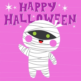 Happy halloween greeting card with cute mummy character
