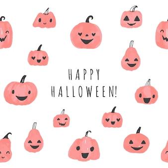 かわいいカボチャのハロウィーンのベクトルのロゴと幸せなハロウィーンのグリーティングカード