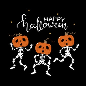 Happy halloween greeting card with cute skeleton and pumpkin dance