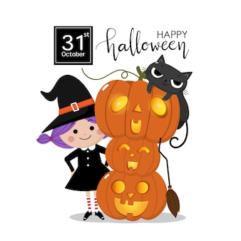 Happy halloween greeting card with cute witch, orange pumpkin