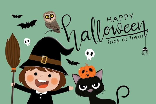Happy halloween greeting card with cute witch