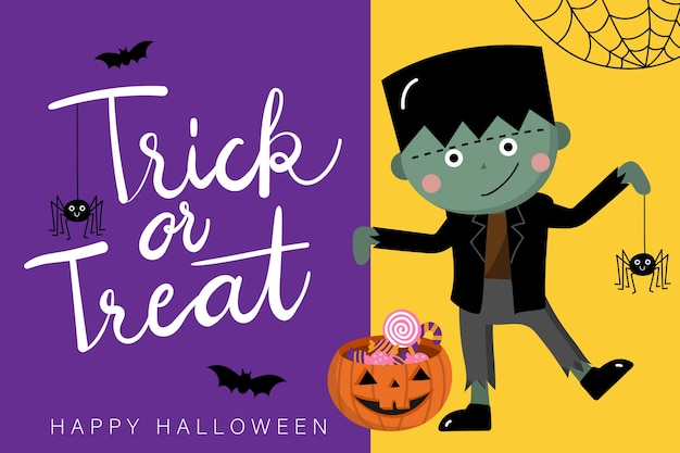 Happy halloween greeting card with cute zombie and spider