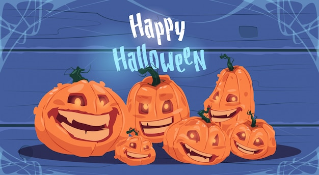 Happy halloween greeting card with different pumpkins traditional decoration