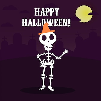 Happy halloween greeting card with funny skeleton in party