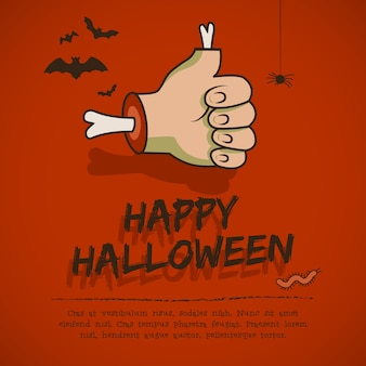 Happy halloween greeting card with hand and approval gesture animals on red background cartoon style