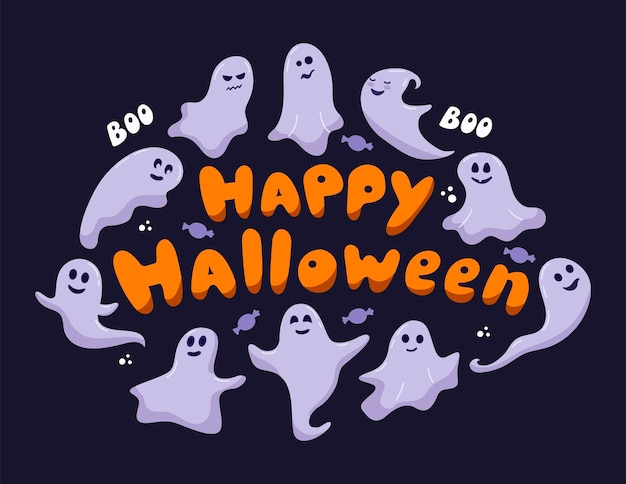 Happy halloween greeting card with hand drawn lettering. cute funny happy ghosts are flying around the text. cartoon childish vector phantoms with different emotions on purple background.