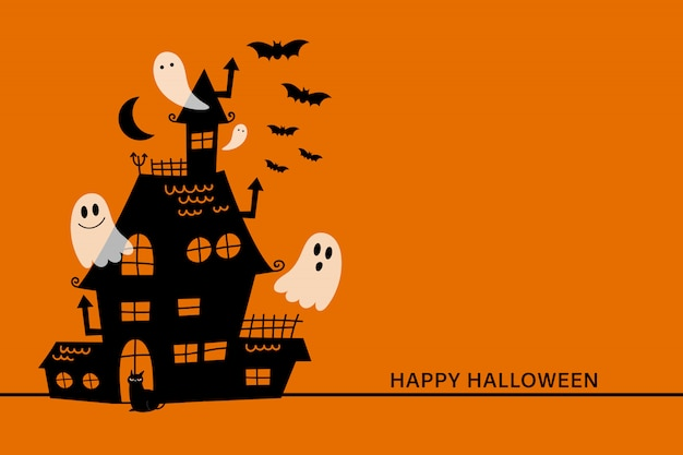 Happy halloween greeting card with haunted house and scary ghost.