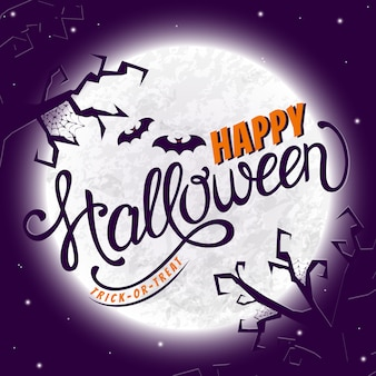 Happy halloween greeting card with lettering.
