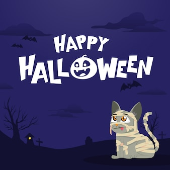 Happy halloween greeting card with mummy cat