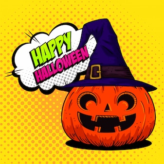 Happy halloween greeting card with pumpkin with witch hat in pop-art style