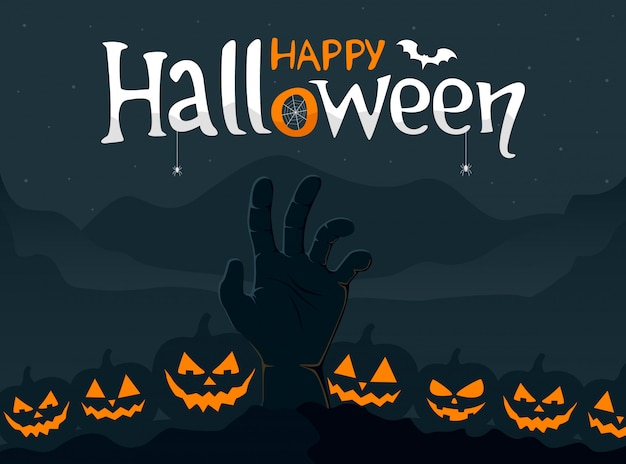 Happy halloween greeting card with spooky zombie hand and scary pumpkins. vector illustration.