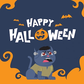 Happy halloween greeting card with with blue zombie cat