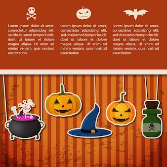 Happy halloween greeting poster with text and paper hanging pumpkins witch hat cauldron poison bottle