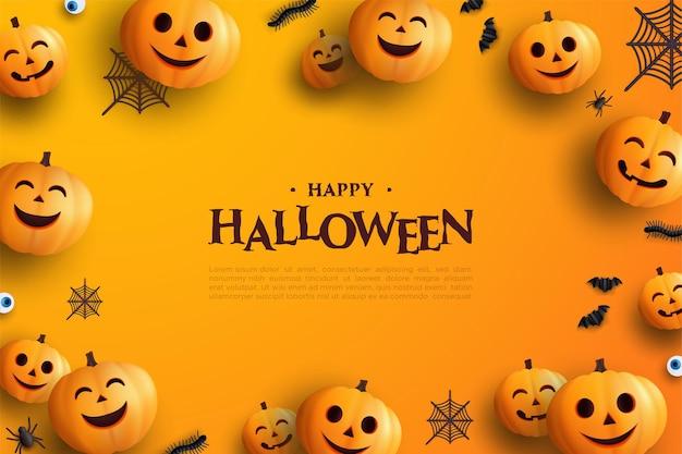 Счастливый хэллоуин поздравительный шаблон с тыквами