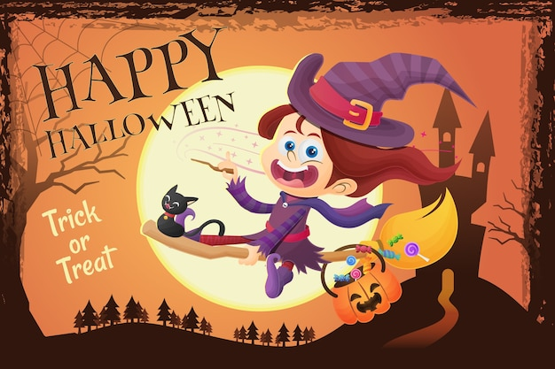 Happy halloween greeting with cute witch girl