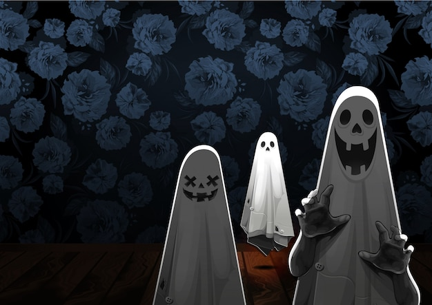 Happy halloween greeting with ghost floating in the air on flower background