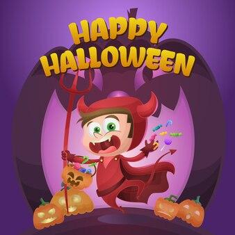Счастливое приветствие хэллоуина с ребенком в костюме дьявола