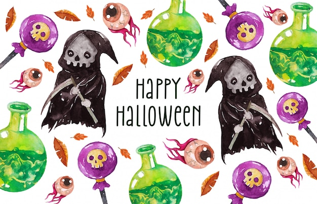 Happy halloween grim reaper greeting card in watercolor style