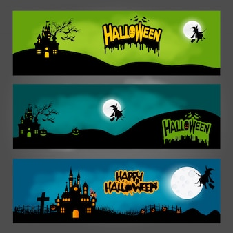 Happy halloween. halloween party. three  vector banners. color illustration
