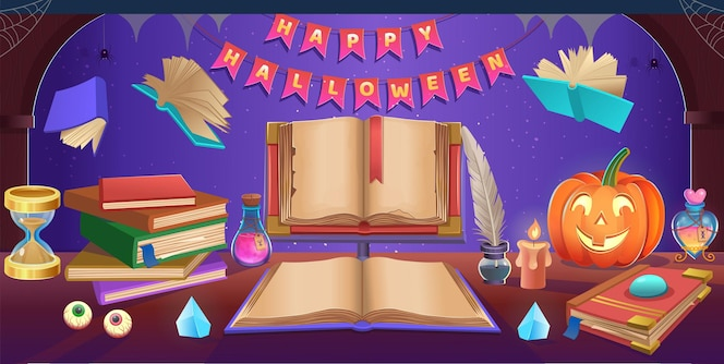 Happy halloween. halloween table with cauldron, pumpkins, candy, hat, magic ball, open book, hourglass, nib pen, stack of books,. background for games and mobile applications.