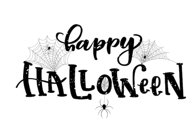Happy halloween hand lettered quote