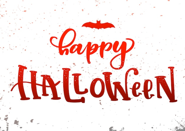 'happy halloween' hand lettering card