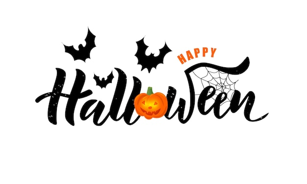 Happy halloween hand lettering text with pumpkin and bats.
