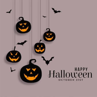 Happy halloween hanging pumpkins and bats illustration