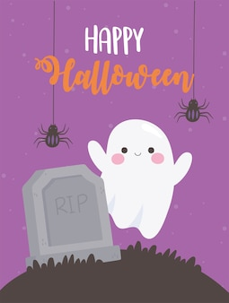 Happy halloween hanging spiders ghost and tombstone on grass illustration