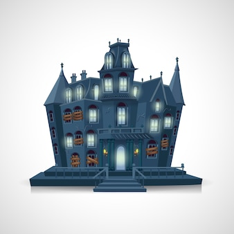 Happy halloween. haunted house  on white background