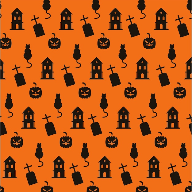 Счастливый хэллоуин с привидениями дома и кладбища с рисунком кошек.