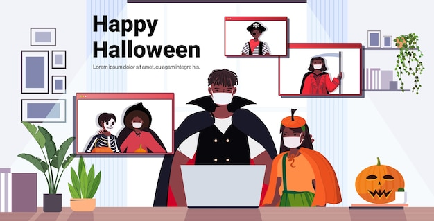 Happy halloween holiday celebration concept people in costumes discussing with friends during video call