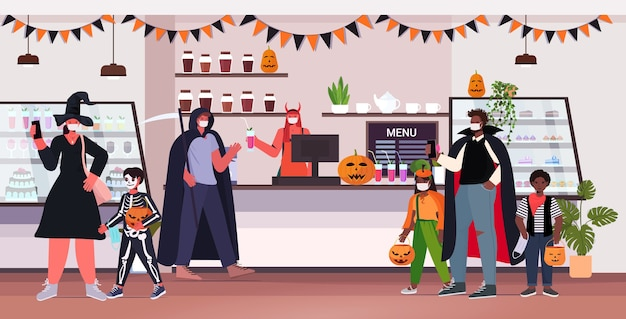 Happy halloween holiday celebration concept people in costumes wearing masks to prevent coronavirus pandemic modern cafe interior horizontal full length vector illustration