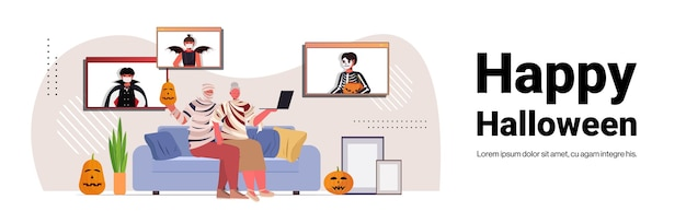 Happy halloween holiday celebration grandparents in mummy costumes discussing with children during video call