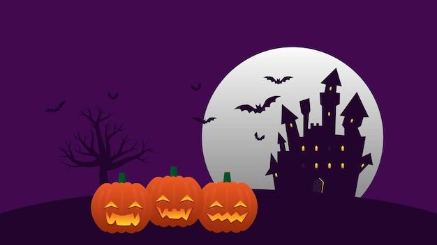 幸せなハロウィーンの休日のパーティーの背景面白いカボチャと装飾のための月とお化け城