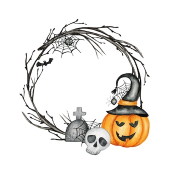 Happy halloween holiday party frame with jack o' lantern pumpkins, skull, bat, spider party decorations. watercolor cartoon illustration. halloween spooky cemetery.