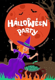 Happy halloween holiday party poster or greeting card design template witch brews magic potion in
