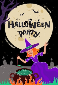 Happy halloween holiday party poster or greeting card design witch brews magic potion in cauldron
