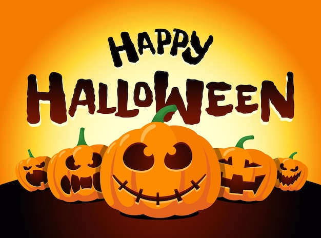 Happy halloween holiday pumpkins under moonlight jack o lantern party greeting card design