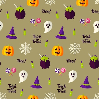 Happy halloween holiday seamless background. vector illustration. trick or treat pattern.