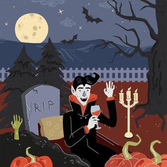 해피 할로윈 휴가 광장 디자인 인사말 카드 달빛 밤 묘지에서 뱀파이어